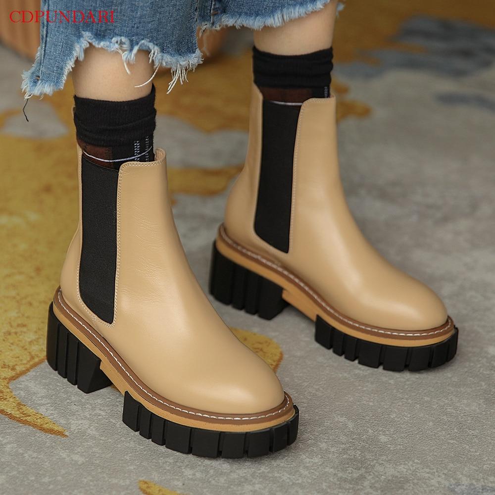 Black High Heels Ankle Boots For Women Genuine Leather Platform Boots Ladies Autumn Winter Short Boot Shoes Bottines Femme