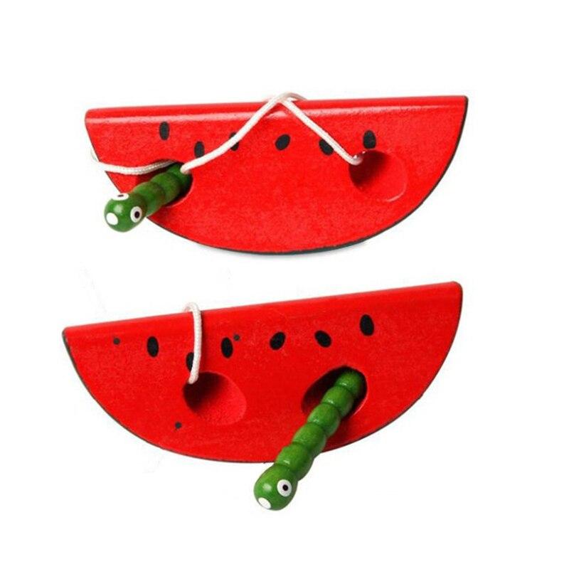 Juguetes de madera Montessori gusano roscado comer manzana sandía puzles novedad divertido juguetes educativos de madera prácticos