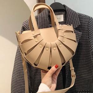 Women Handbag Woven Shell Design Leather Luxury Tote Bags For Women 2021 New Crossbody Bag Lady Weave Hand Bags Bolso Satchel