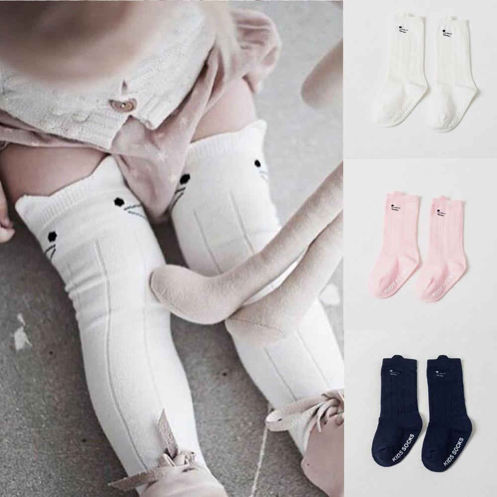 Cartoon Cotton Baby Kids Girls Toddler Knee High Stockings Tights Cats 0-4T Children Accessories