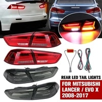 car tail lights assembly for mitsubishi lancer evo x 2008 2017 smoked tail lamp assembly with sequential turn signal full led