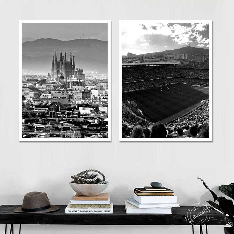 Póster de viaje con impresiones del Skyline de Barcelona y España, pintura...