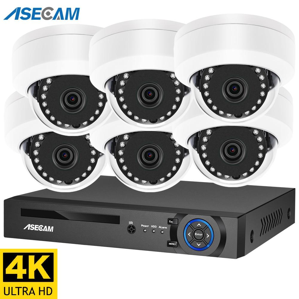 4K الترا HD 8MP الأمن نظام الكاميرا h.265 POE طقم NVR الدوائر التلفزيونية المغلقة في الهواء الطلق المعادن الأبيض قبة المراقبة بالفيديو K10 IP كاميرا مجم...