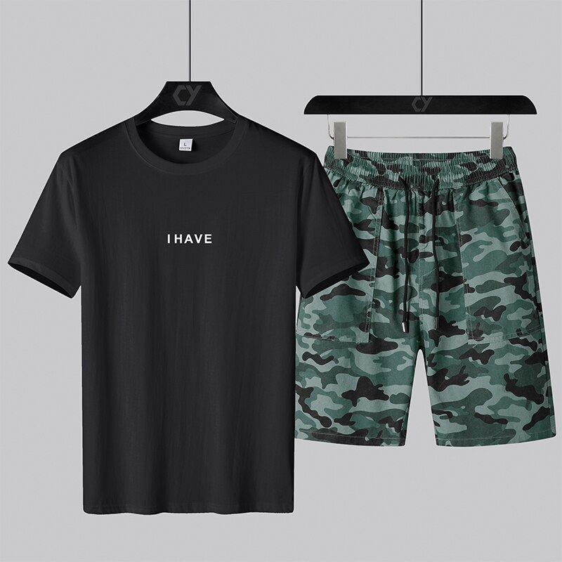 Camouflage shorts suit men's sportswear suit men's T-shirt shorts 2-piece running brand sportswear 2021