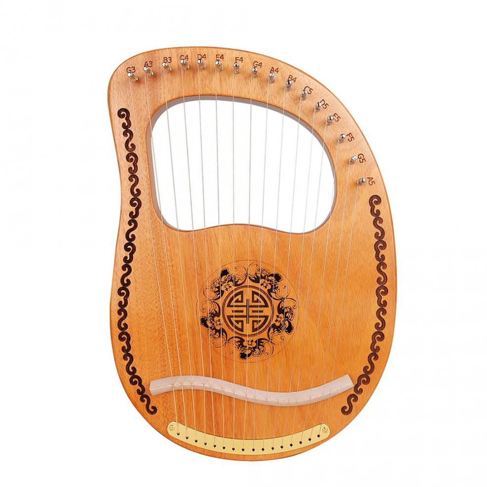 16 Strings Lyre Mini Harp Solid Mahogany Wood Carving Pattern with Tuning Hammer String Instrument for Performance enlarge