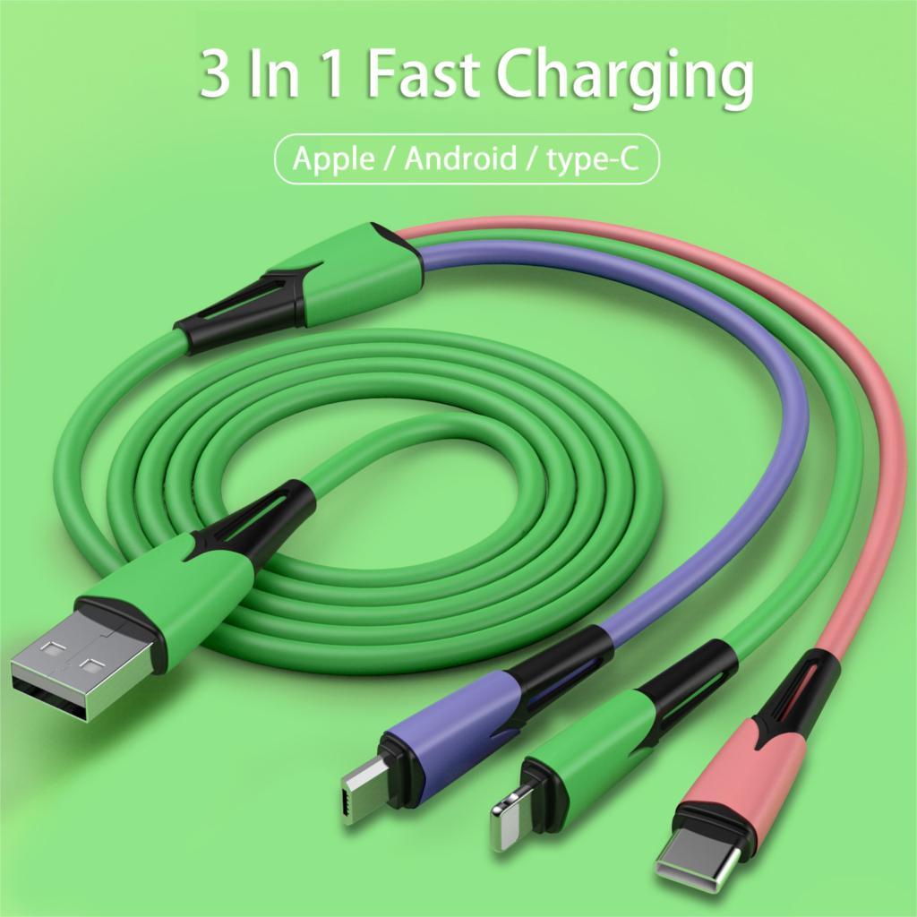 Cable USB 3 en 1 de 3A a tipo C/Micro USB/Android para...