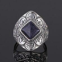 S925 srebro pierścionki niebieski piaskowiec pierścienie z kamieniami szlachetnymi dla kobiet obrączki prezent na rocznicę biżuterii