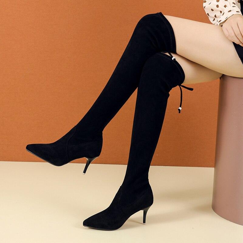 الخريف والشتاء أحذية نسائية امرأة زائد حجم كبير كبير 35-43 فوق الركبة الأحذية رقيقة عالية الكعب مثير المرأة منصة الكعوب