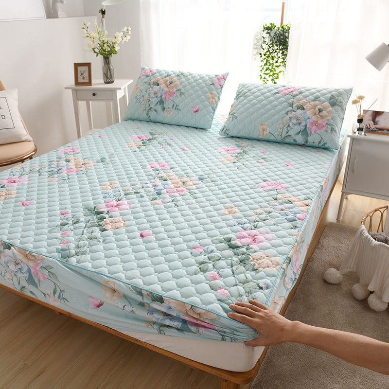 100% نسيج القطن رشاقته مبطن غطاء مرتبة حجم مزدوج تخصيص عالية الجودة غطاء حامي السرير لا بما في ذلك المخدة