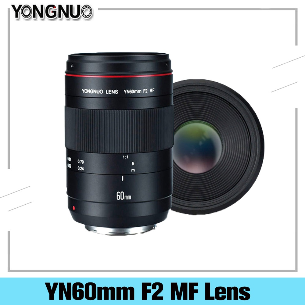 YONGNUO ماكرو عدسة YN60mm F2 MF فتحة اطلاق النار ينس مع التركيز المسافة مؤشر كاميرا عدسة لكانون نيكون DSLR كاميرا