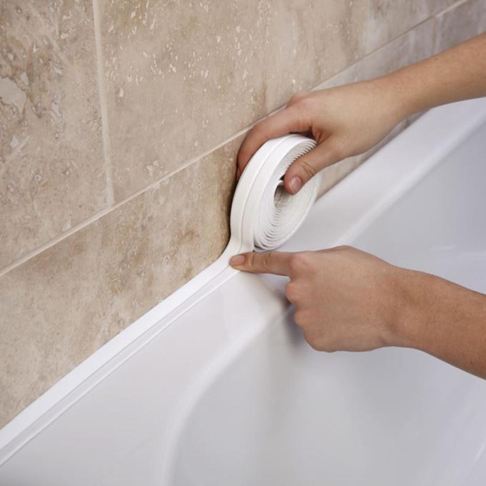 Kitchen Stickers Shower Sink Bath Sealing Strip Tape White PVC Self Adhesive Waterproof Wall Paper f