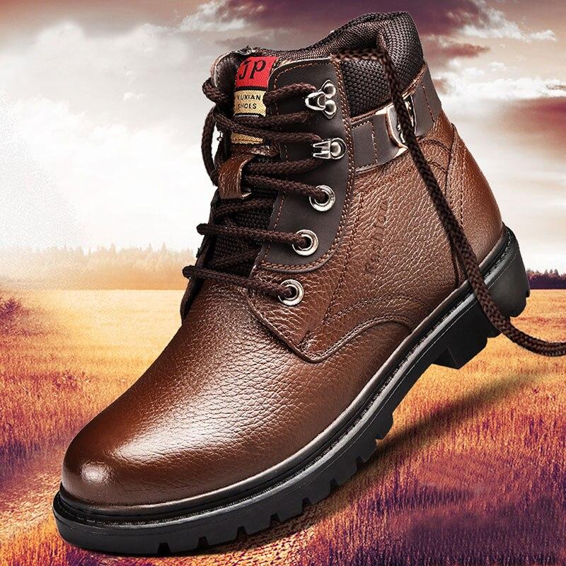 الشتاء الرجال الصوف عالية الجودة فراء الأحذية في الهواء الطلق سميكة مركب وحيد حذاء كاجوال جلد البقر مصمم الخياطة حذاء من الجلد