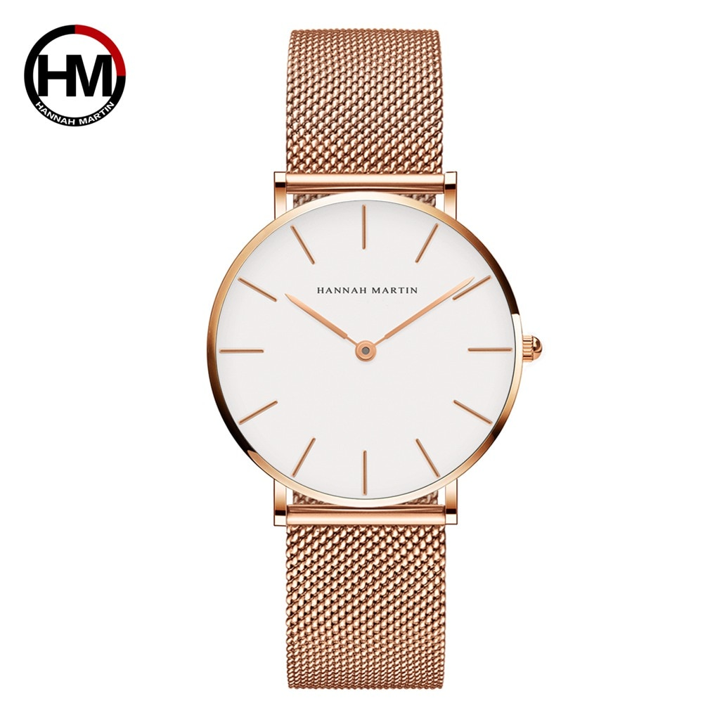 Japan Quartz Women Stainless Steel Mesh Band Classic Simple Design Wrist Watches Rose Gold Waterproof Ladies Watch Fast Shipping enlarge