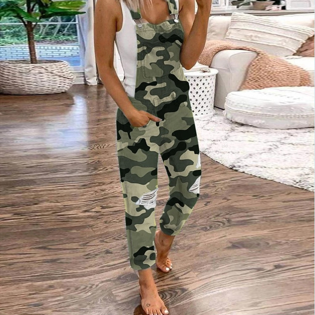 Jumpsuit Women Combinaison Femme Womens Printing Hemp Long Trousers Pocket Overalls Casual Jumpsuits