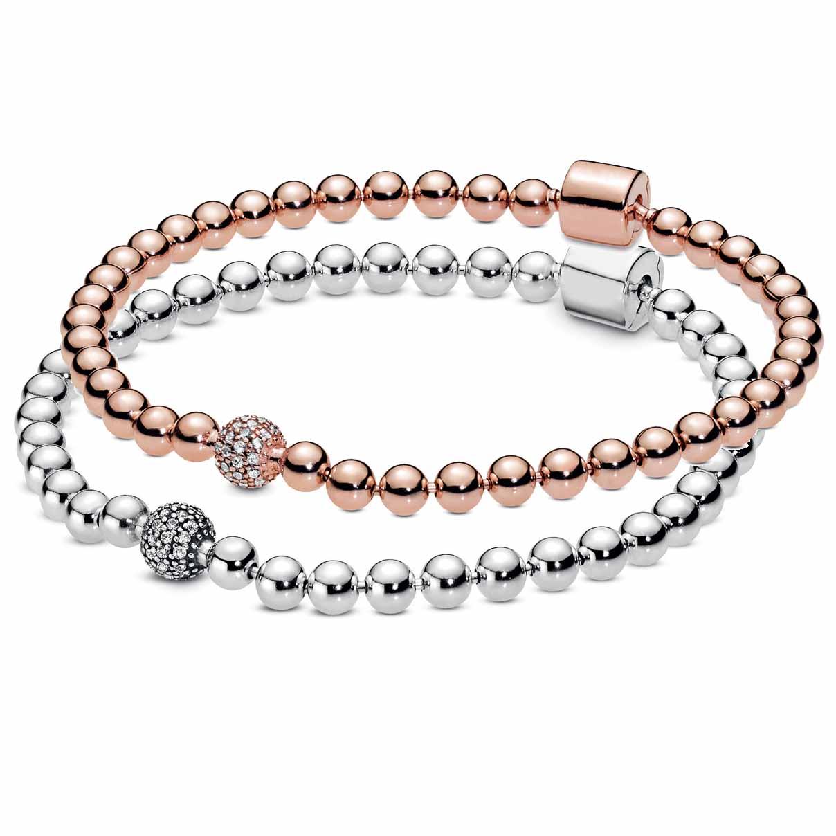Cuentas de cristal original y pavé de ouro rosa, pulsera deslizante, ajuste, 925 prata, esterilla, pandora