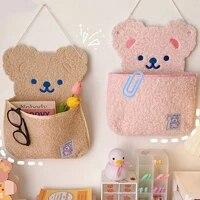 cartoon bear wall mounted storage bag for baby carriage bag stationery clip wall mounted bear storage bag laptop desktop storage