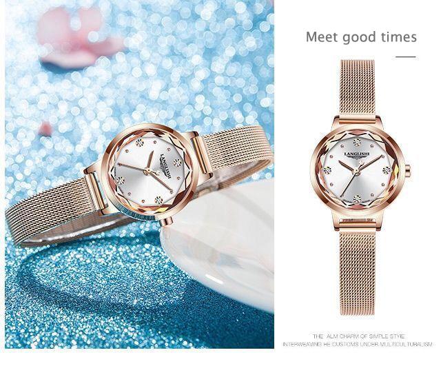 LANGLISHI Fashion Women Watch Top Brand Luxury Ladies Mesh Belt Ultra-thin Watch Stainless Steel Waterproof Watch Reloj Mujer enlarge