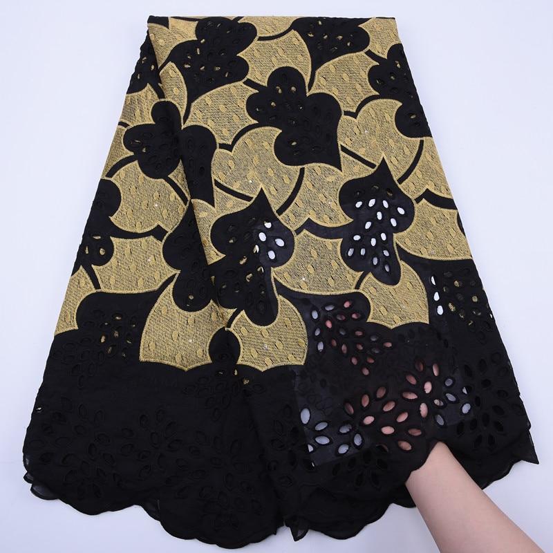 Tela de encaje suizo, bordado novedoso, telas de algodón de 100% africana, tela de encaje de gasa suizo, tela de encaje de estilo Dubái popular de 5 yardas