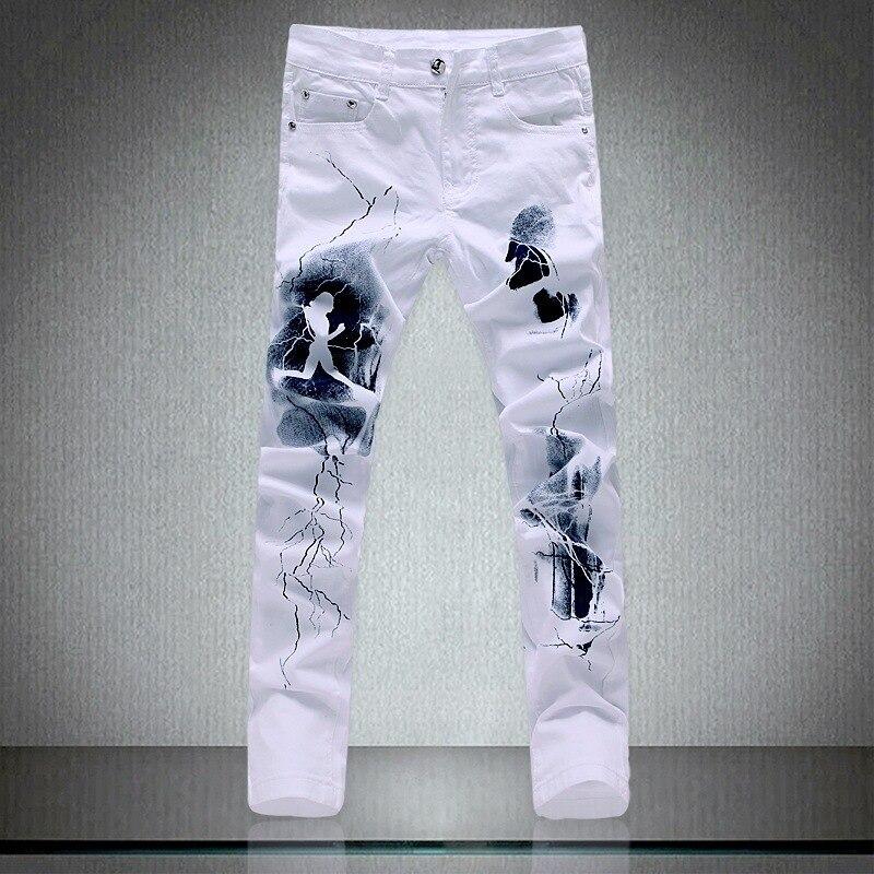 Мужские повседневные джинсы, длинные дизайнерские эластичные облегающие джинсы в Корейском стиле, новые белые джинсы с принтом, длинные мо...