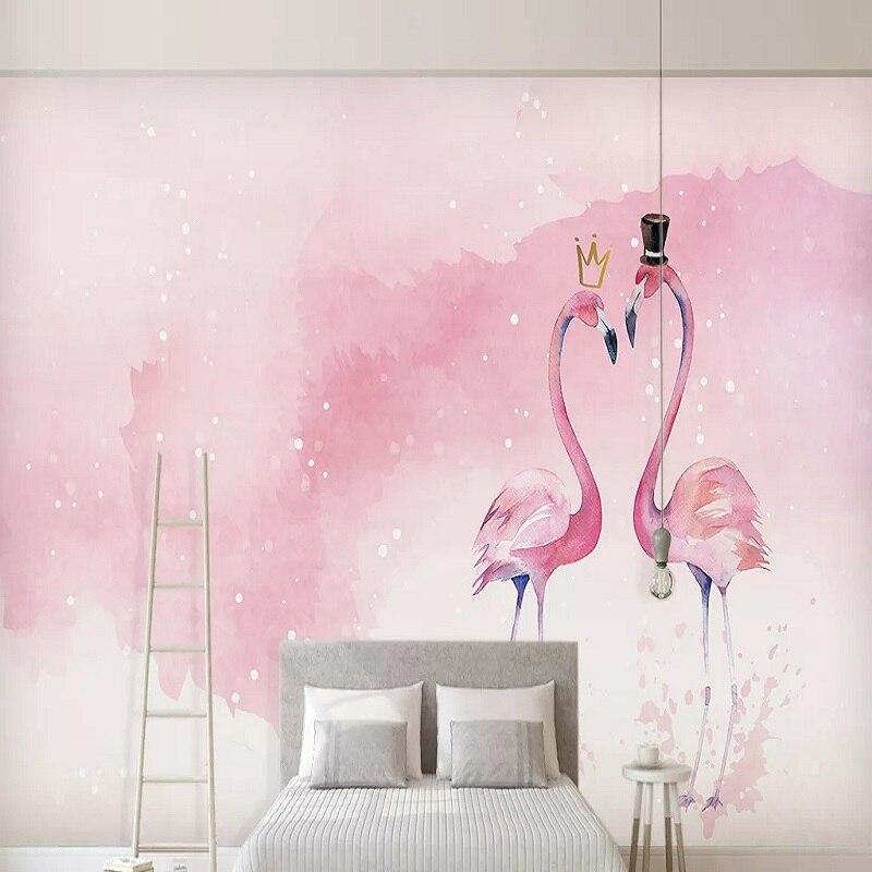 Mural grande personalizado 3D papel pintado nórdico moderno dibujos animados Rosa flamenco amor bebé dormitorio mural TV decoración de pared trasera 5D en relieve