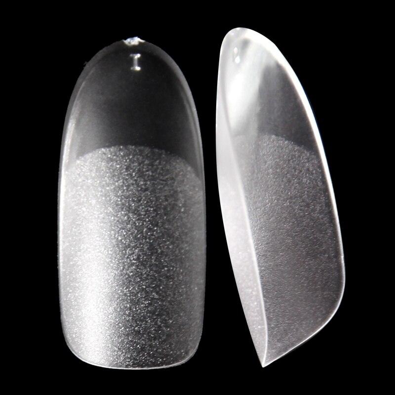 Pontas de Dedo Dentro e Fora Oval Manicure Ultra Fino Fosco um Passo Gel Unhas Dicas 500 Pçs
