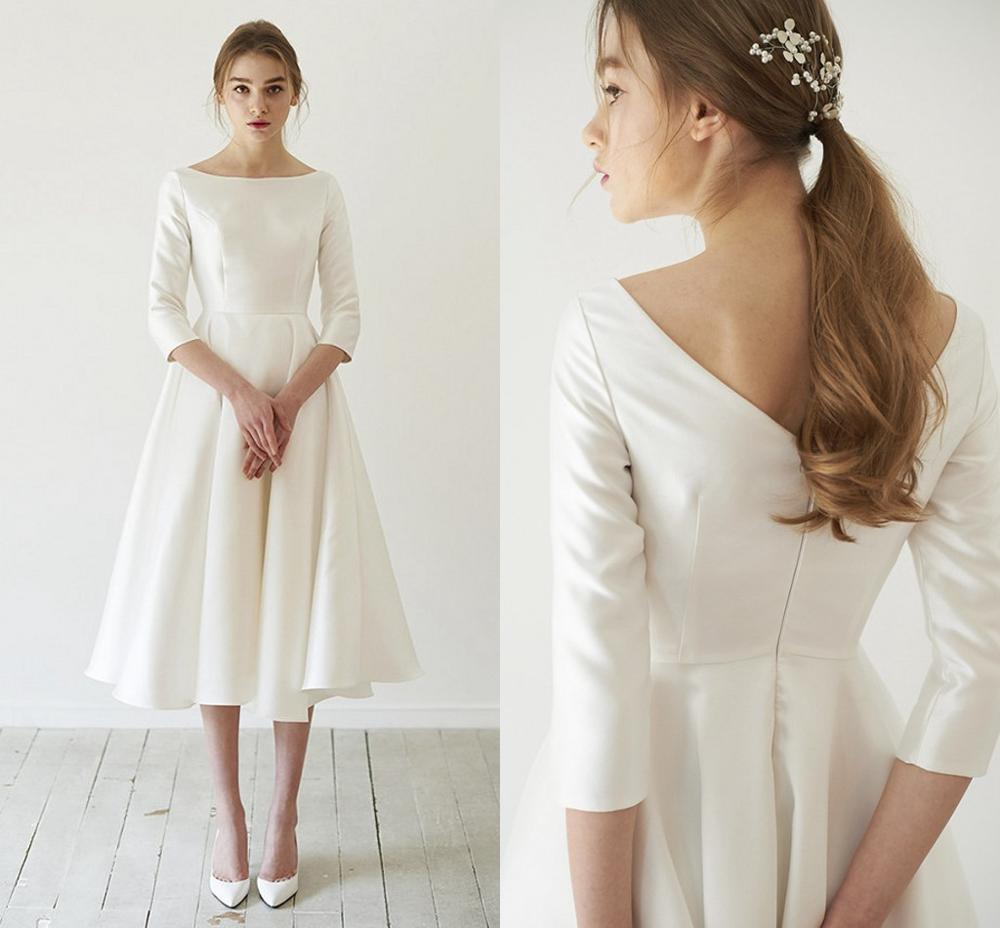 Vestidos de satén sencillo para boda, vestido de novia con manga larga,...