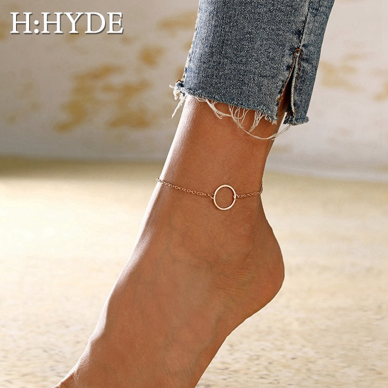 H:HYDE Geometric Anklets Big Circle For Women Foot Accessories Summer Beach Barefoot Sandals Bracelet Ankle on the leg Female