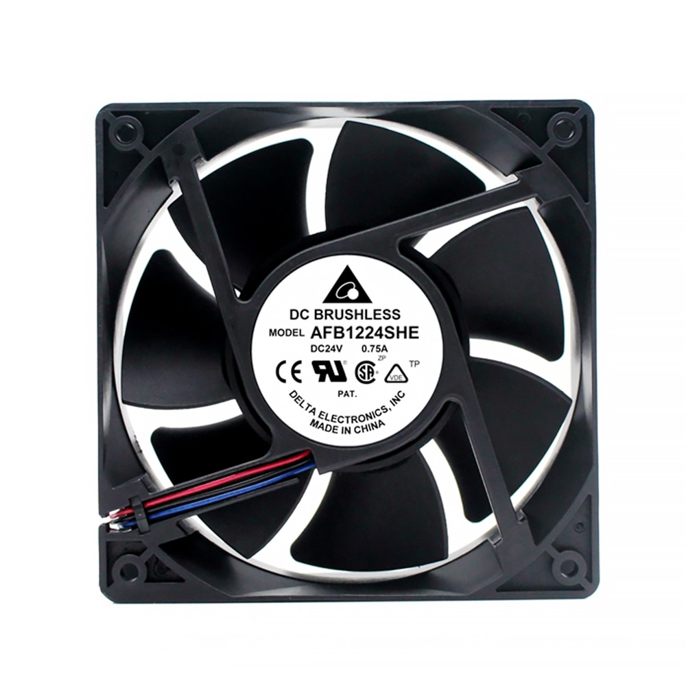 New for delta AFB1224SHE 120*120*38mm DC 24V 0.75A 2 or 3 wire lead 3700RPM 151.95CFM 53DBA Cooling fan
