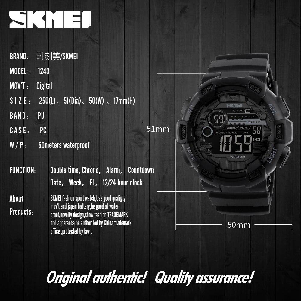 5pcs SKMEI Men Watch 2021 Sport Digital Watch Waterproof LED Display Wirstwatch Multifunction Electronic Watch 1243 enlarge