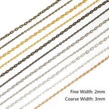 5m / lot Collier Bracelets Chaînes en métal bronze antique plaqué en vrac pour les bijoux de bricolage Matériaux Fournitures de conclusions au gros