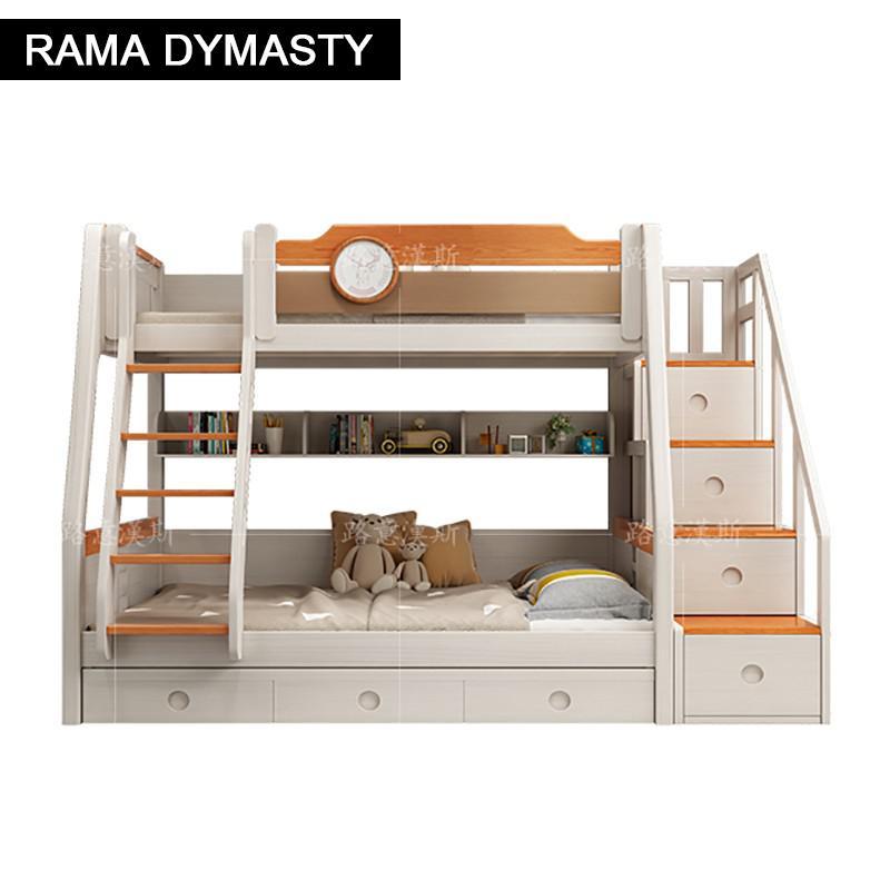 خشب متين سرير بطابقين سرير بطابقين متعدد الوظائف الجمع بين الأطفال العلوي والسفلي بطابقين جميع خشب متين سرير قابل للتعديل