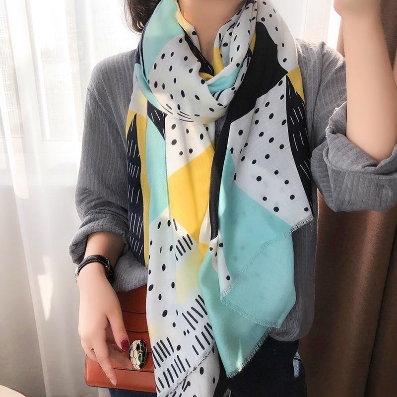 KYQIAO women geometric hijab scarf women autumn spring Japanese style fresh long blue patchwork head scarf muffler