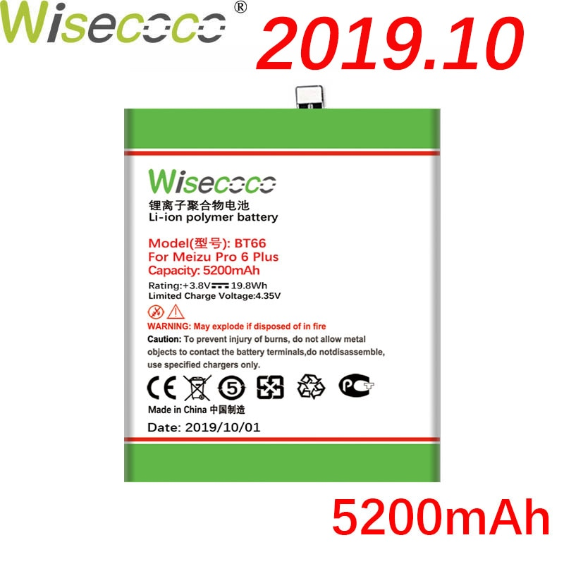 Wisecoco BT66 5200mAh recién producido batería para Mei ZZ Pro 6 Plus M686 M686G M686Q teléfono batería de alta calidad + número de seguimiento