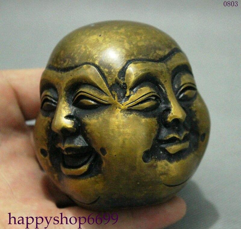 Budista chino brance 4 caras Maitreya Buda cabeza Xi Nu Ai Le...