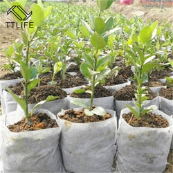 Ttlife 100 pçs/lote 8*10cm biodegradável não tecido berçário sacos 10x12cm planta crescer sacos de tecido vasos de mudas eco-amigáveis aeração