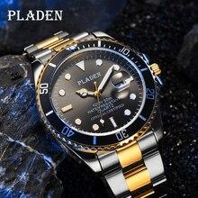 PLADEN Brand 44mm Black Round Dial Men Watch Set Gold And Silver Luminous Waterproof Quartz Clocks M