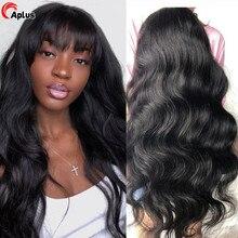30 pulgadas de la onda del cuerpo de la peluca con malla frontal brasileño peluca franja pelucas de cabello humano con flequillo para las mujeres negras máquina completa pelucas con Bang