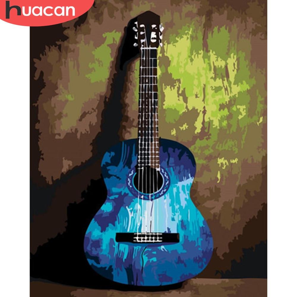HUACAN pintura por números fotos de guitarra Kits de regalo dibujo lienzo pintado a mano música decoración del hogar