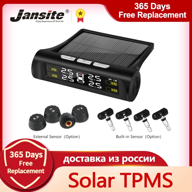 Jansite Smart Car TPMS Tyre Pressure Monitoring System Solar Power Digital LCD Display Auto Security