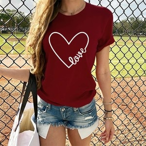 Women Plus Size T Shirts Women 2020 Women Valentine's Day Heart-Shaped Print Summer Top Tee Loose T-shirt Womens Tops  602#3