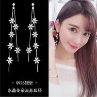 s925 silver needle womens earrings long crystal earrings flower tassel earrings simple snowflake earrings 2021 trend jewelry