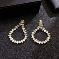 new popular design 14k real gold crystal rear hanging type drop earrings for women jewelry s925 silver needle shiny aaa zircon
