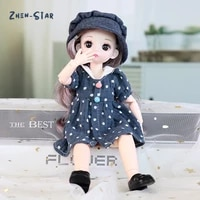 16 bjd doll 30cm 12 movable joints cute 4d big eyes multiple hairstyle babydoll cartoon can dress up fashion doll toy girl gift