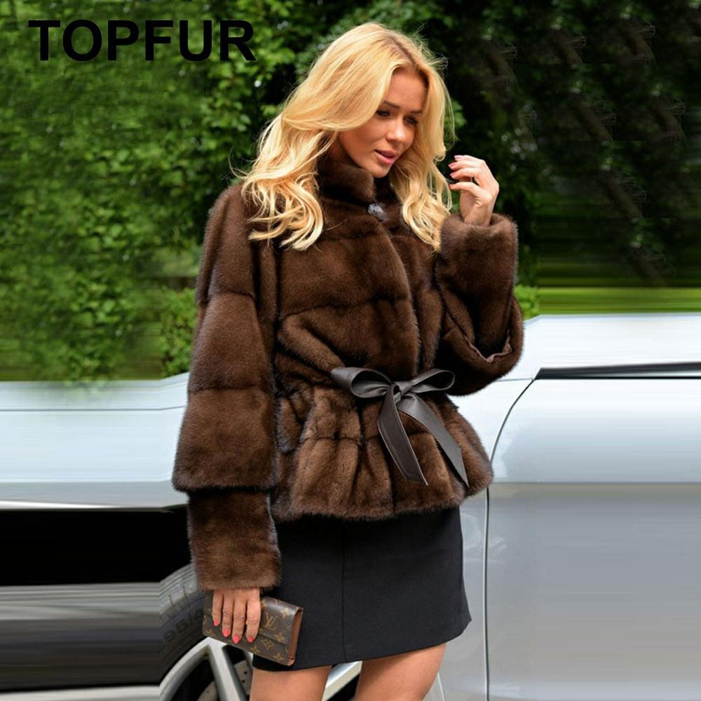 معطف فرو حقيقي مخصص من topالفراء في فصل الشتاء للنساء معطف فرو منك طبيعي مع حزام بأكمام طويلة معطف عادي قياسي قصير