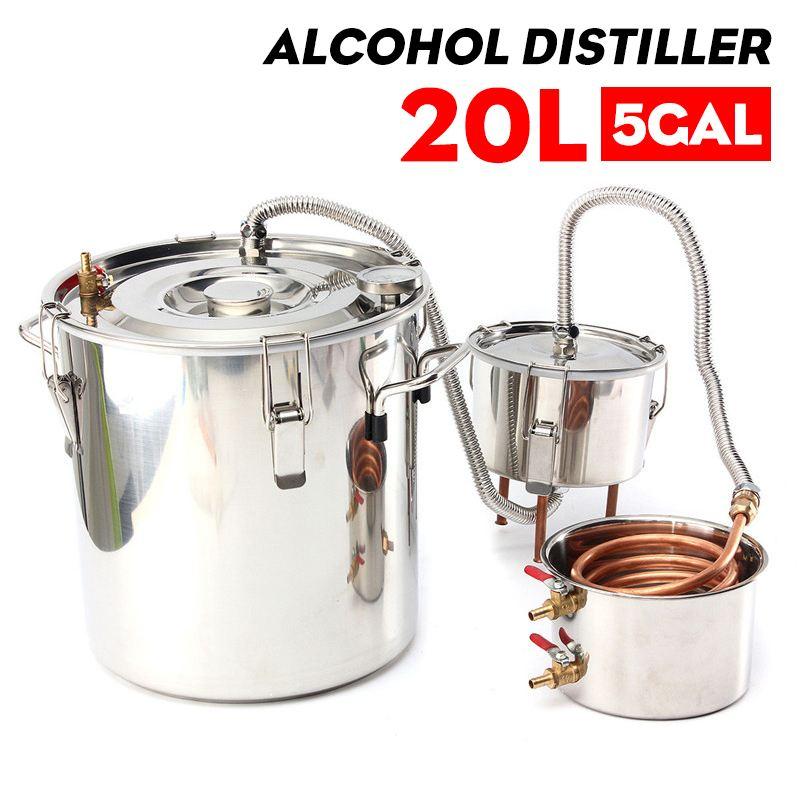 كفاءة 20L 5غال المقطر Alambic Moonshine جهاز تقطير الكحول الفولاذ المقاوم للصدأ النحاس لتقوم بها بنفسك المنزل المياه النبيذ زيت طبيعي طقم تخمير