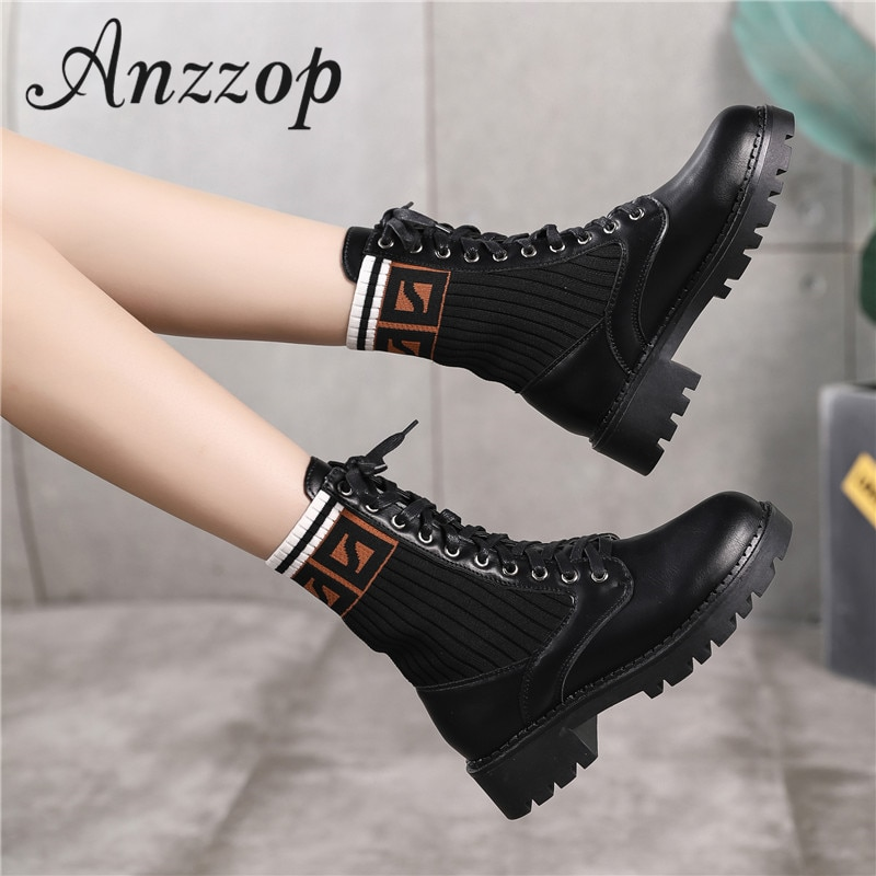 Black Martin boots female 19 new leather British wind elastic stockings trend letters luxury wild popular net red short boots