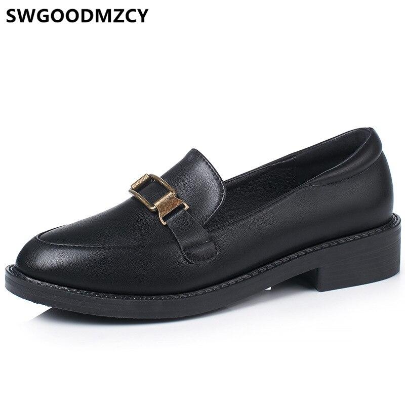 Loafers Oxford Shoes For Women Spring Shoes Women Leather Shoes Women Black Flats Sepatu Wanita Flat Slip On Calzado Mujer 2020
