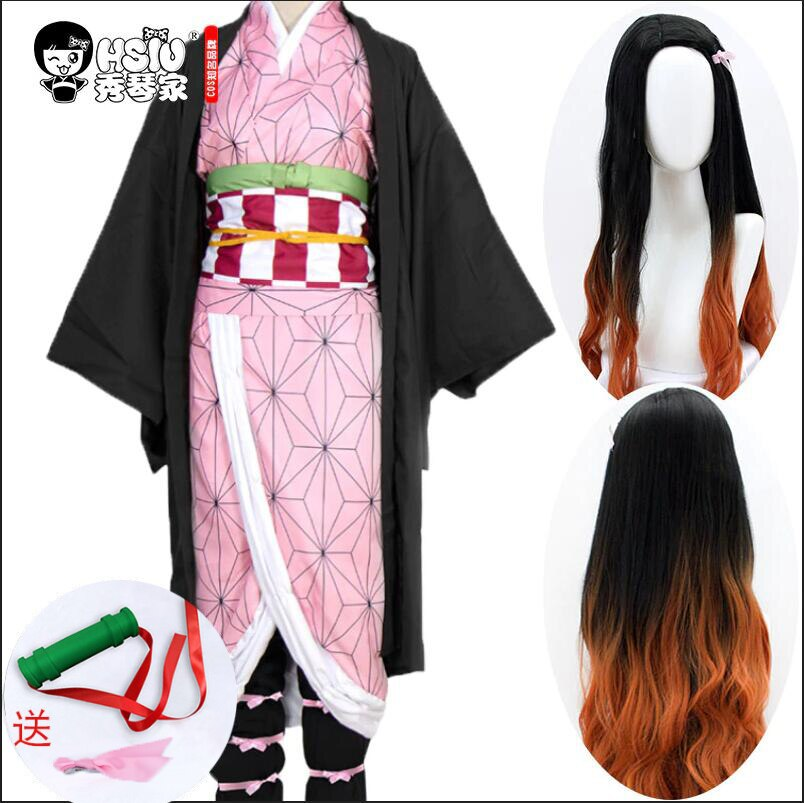 HSIU Kamado Nezuko Аниме Косплей Костюм парик демон Slayer Kimetsu no Yaiba кимоно униформа плащ ПОЛНЫЙ КОМПЛЕКТ Хэллоуин градиент волос