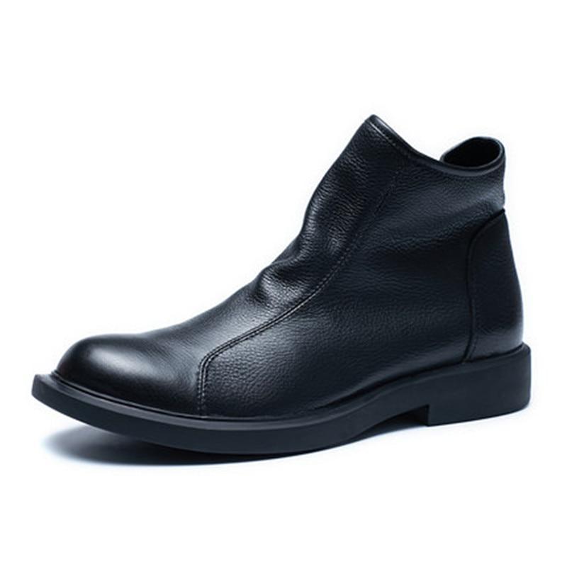 Madingxue-أحذية شتوية من جلد الغزال بسحاب للرجال ، أحذية جلدية ناعمة على الطراز الإنجليزي