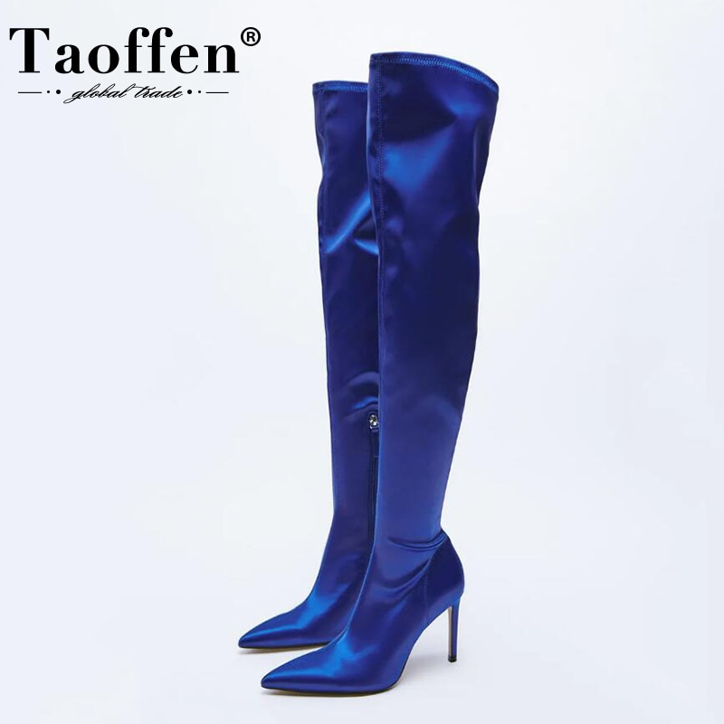 Taoffen Size 35-43 Women Over The Knee Boots  Zip Thin High Heels Ins Hot Candy Color Party Club Fas